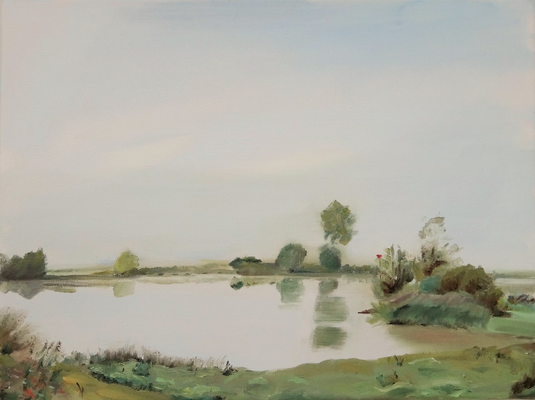 Oil Painting IJssel riverbank misty morning